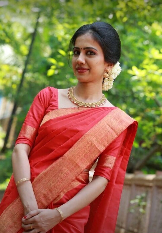 Pin By Mira On Red Sarees Engagement Saree Saree Wedding