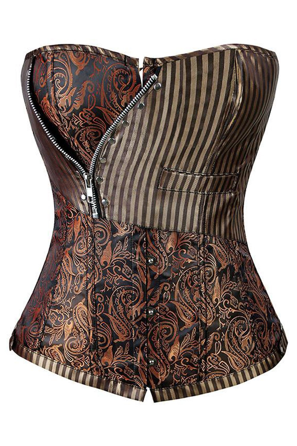 1f6e5f83472 Get the perfect steampunk look with our Atomic Brown Brocade Steampunk  Overbust Crorset. Get it