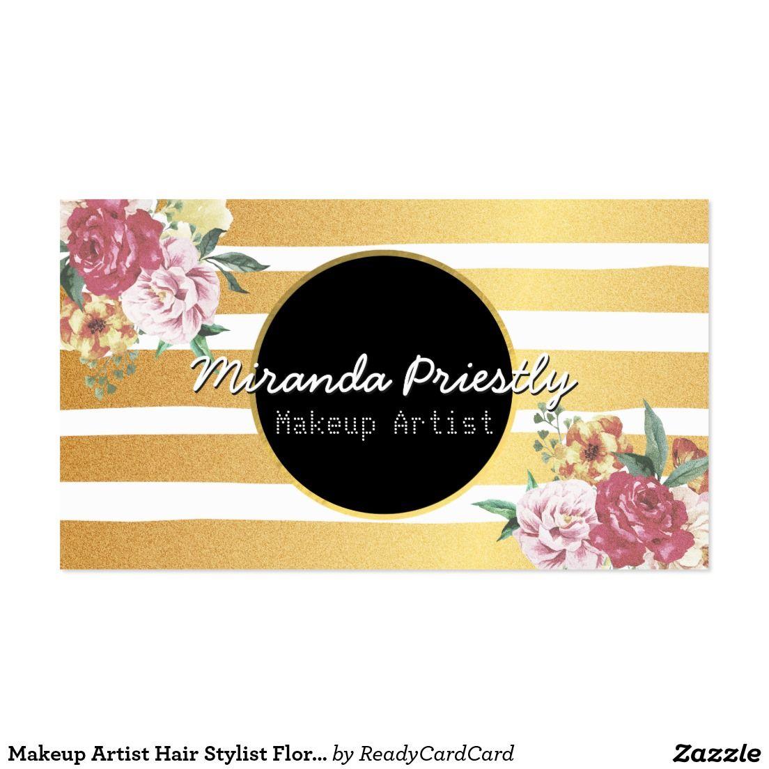 Makeup Artist Hair Stylist Floral Gold Stripes Business Card ...