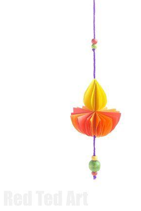 Paper DIYA - Diwali Kids Crafts - Red Ted Art - Make crafting with kids easy & fun
