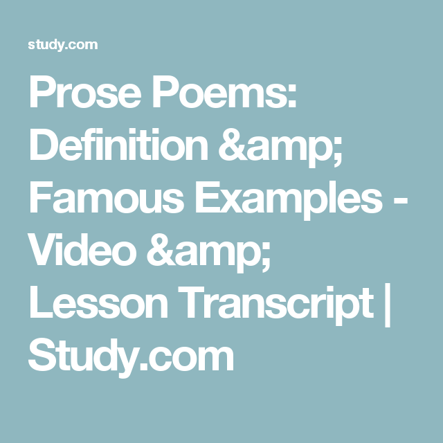 Prose Poems Definition Famous Examples Video Lesson