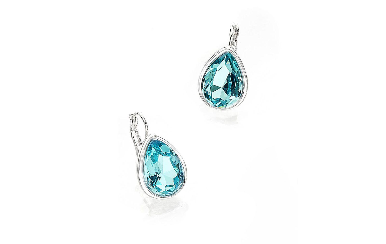 0b20696bb730 Aretes en forma de gota con piedras de cristal color azul ...