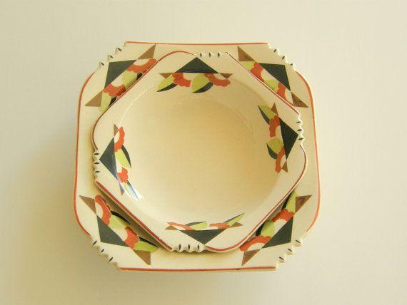 Sienna Ware Art Deco Fruit or Dessert Bowl by SusabellaBrownstein