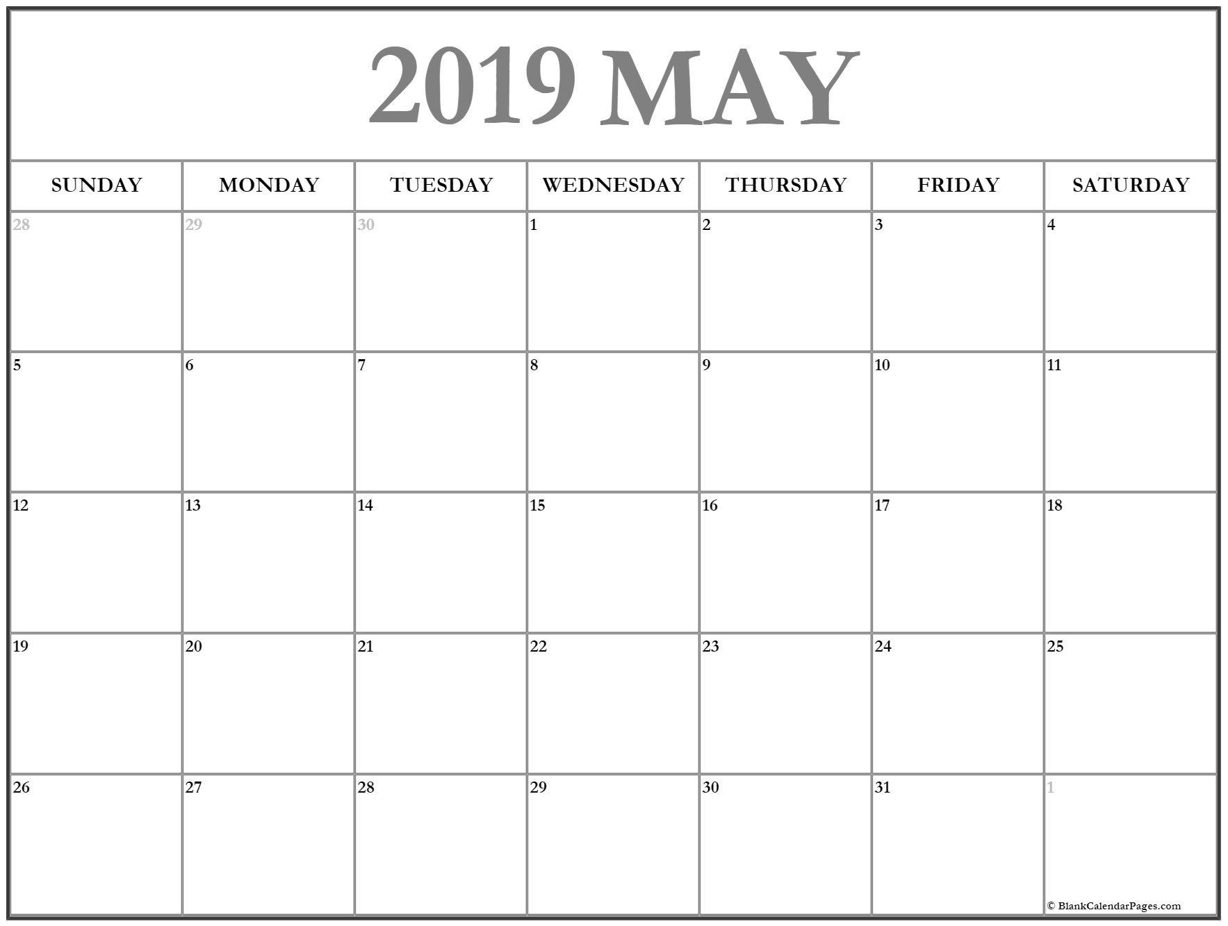 May 2019 Calendar May Calendar 2019 Printable And Free Blank