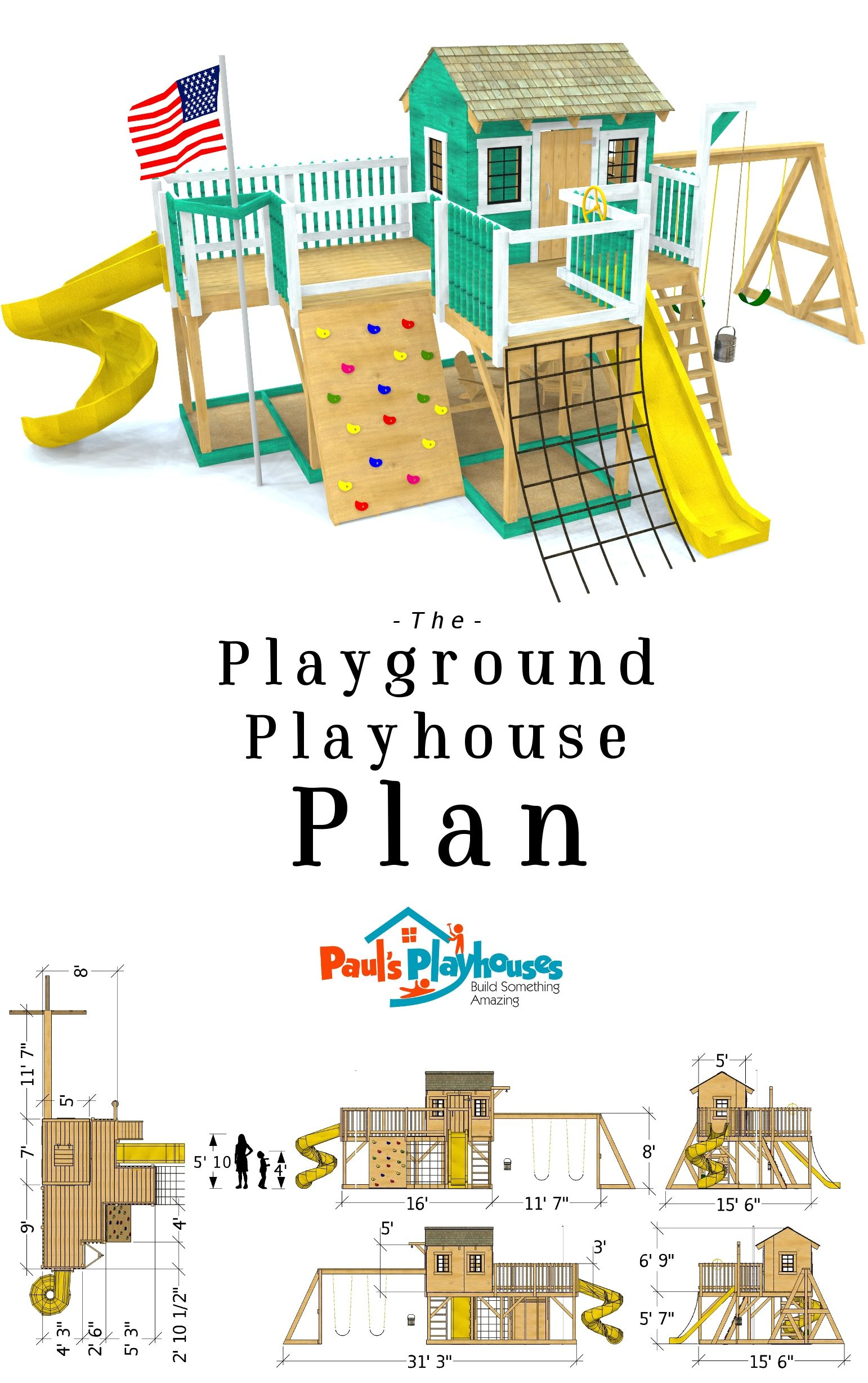 Playground Playhouse Plan 2 Sizes Sold Separately Play Houses Kids Outdoor Play Backyard Play
