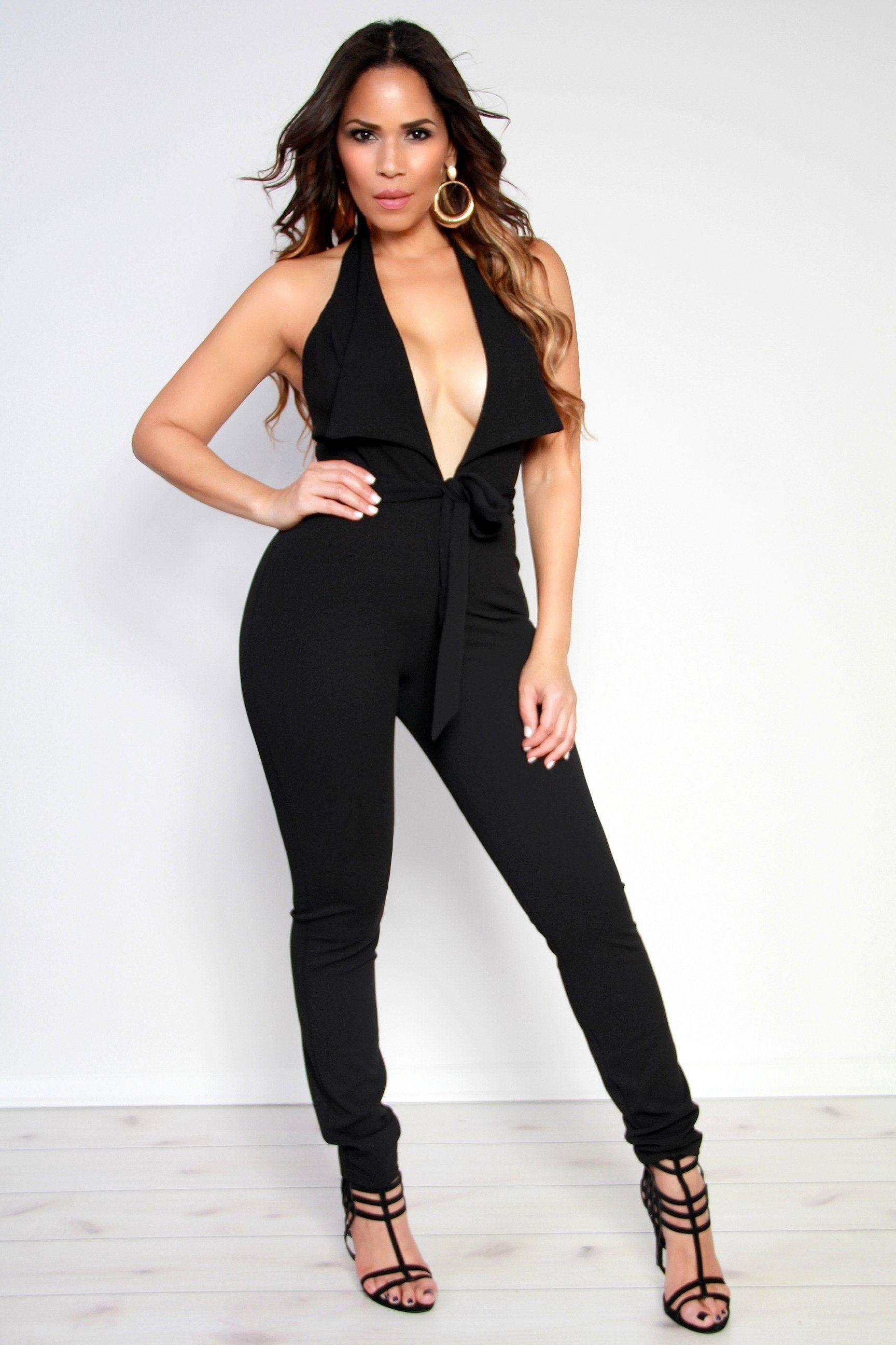 d5fcbd3c350 Tux Halter Top Plunging V-Neck Jumpsuit W  Waist Tie In Black – MY SEXY  STYLES