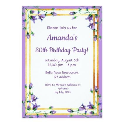 80th Birthday Party Invitation Card Bluebells Gold