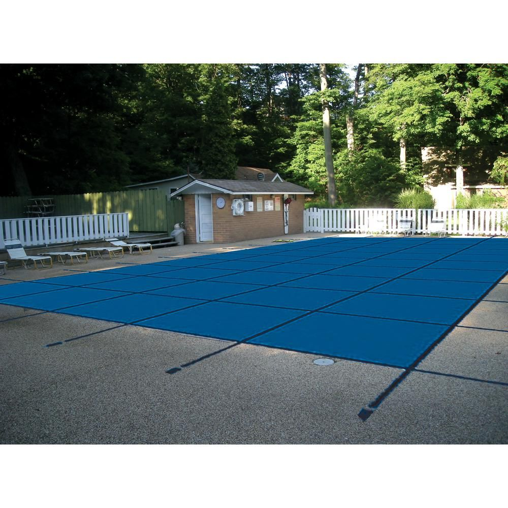 Waterwarden 18 Ft X 36 Ft Rectangle Blue Mesh In Ground Safety Pool Cover For Left End Step Scmb1836ls The Home Depot Pool Cover In Ground Pools Pool Safety Covers