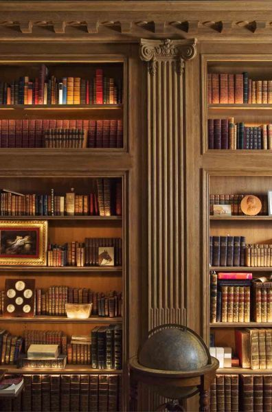 Wood Paneled Library: I Could Make The Wide Board Space A Slide Out Hidden