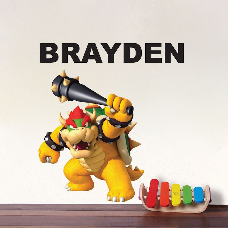 Browser Baseball Bedroom Wall Decal Super Mario Game Room Decor Video Browswer