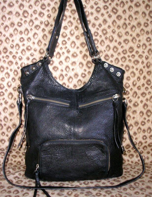 Treesje Black Leather Fold Over Bag Guc Shoulderbag