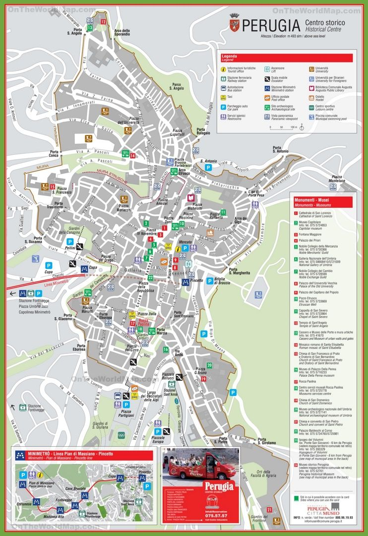 Perugia tourist attractions map Maps Pinterest Italy and City