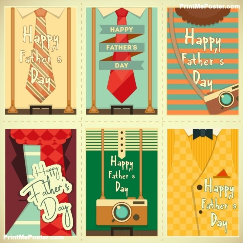 Father's Day Posters Set  Flat Design  Retro Style  Man Hipster Clothing  Vector Illustration  poster is part of Clothes Illustration Poster -