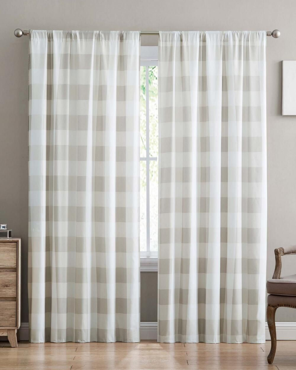 Truly Soft Everyday Buffalo Plaid Curtain Panel Set Of 2 84l 50w