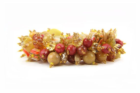 Beaded Honey Gold Orange Autumn Catepillar by Thebracelettree, $49.00
