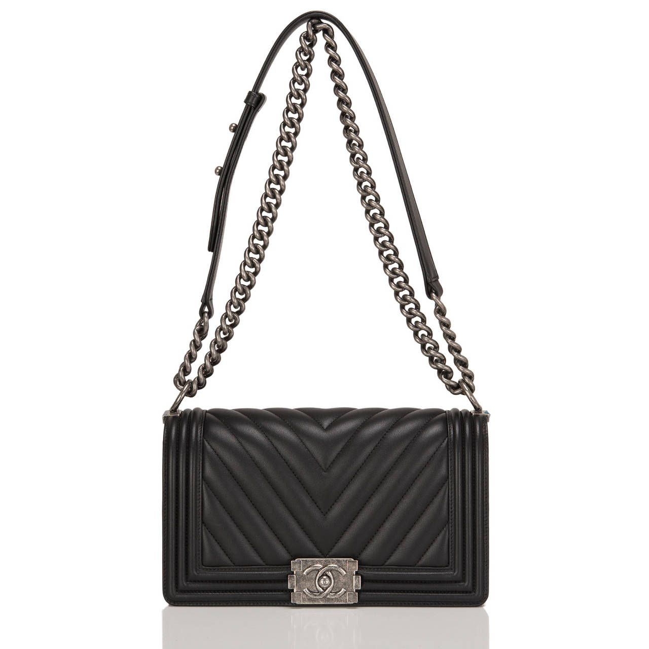 819353578815ef Chanel Black Chevron Medium Boy Bag | From a collection of rare vintage  shoulder bags at