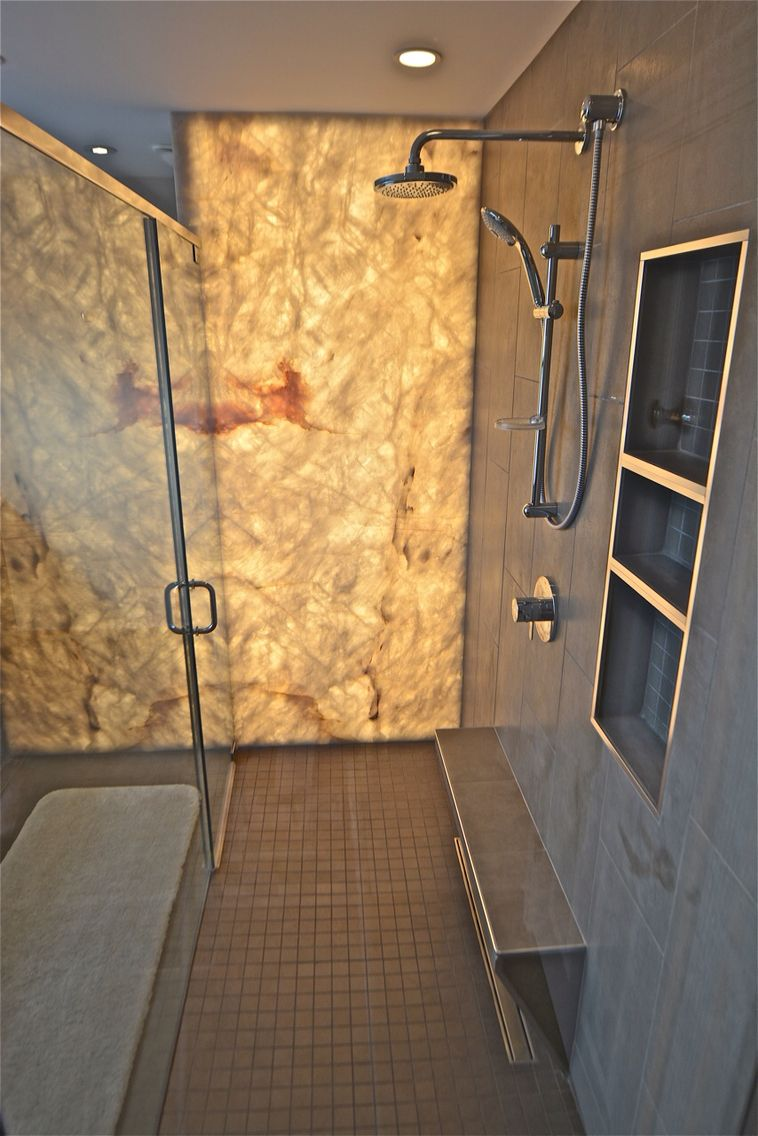 Beau AFTER   Backlit Onyx Shower Wall