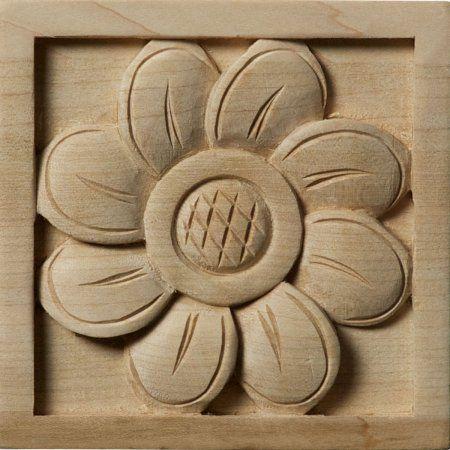 """Hand Carved Hardwood Applique Rosette 3-1//2/""""D"""