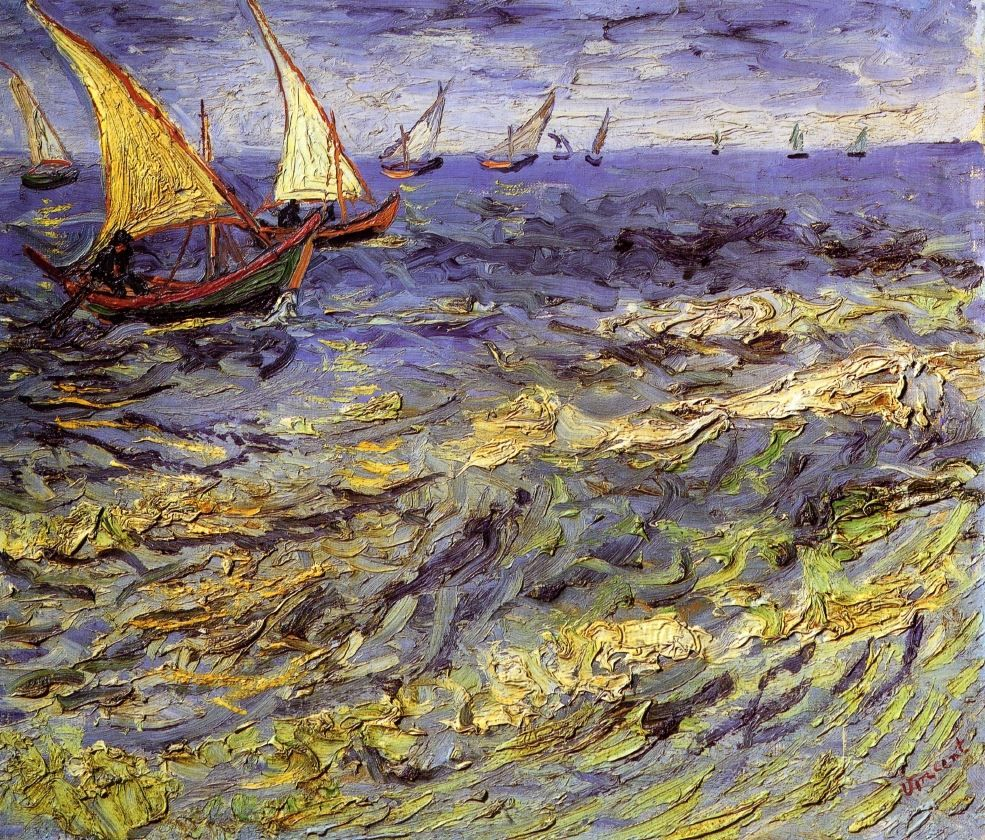 Fishing Boats at Sea (also kn own as Seascape at Saintes-Maries) Vincent van Gogh