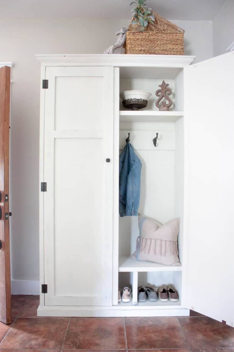 Diy Mudroom In An Armoire Armoire Furniture Plans Armoire Diy Armoire Repurpose