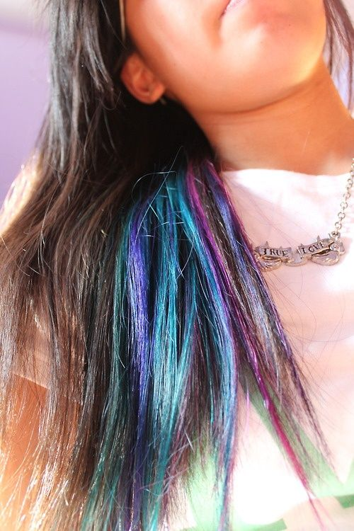 Under Color Streaks Purple Blue Green Want Green Hair