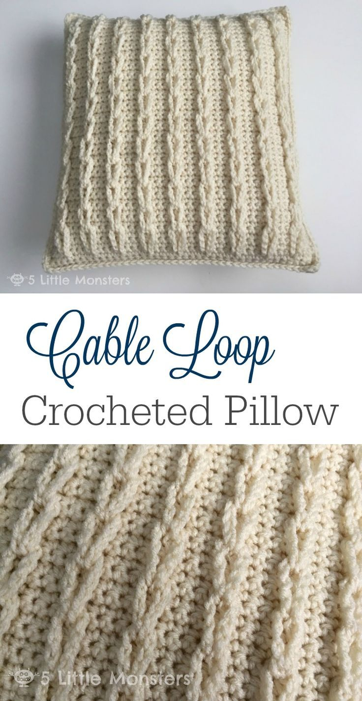 Cable Loop Crocheted Pillow (5 Little Monsters) | Afghans ...