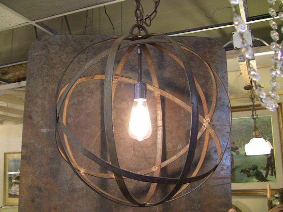 Industrial Sphere Orb Chandelier Metal strap by TheLightingPalace ... | metal strap globe lantern