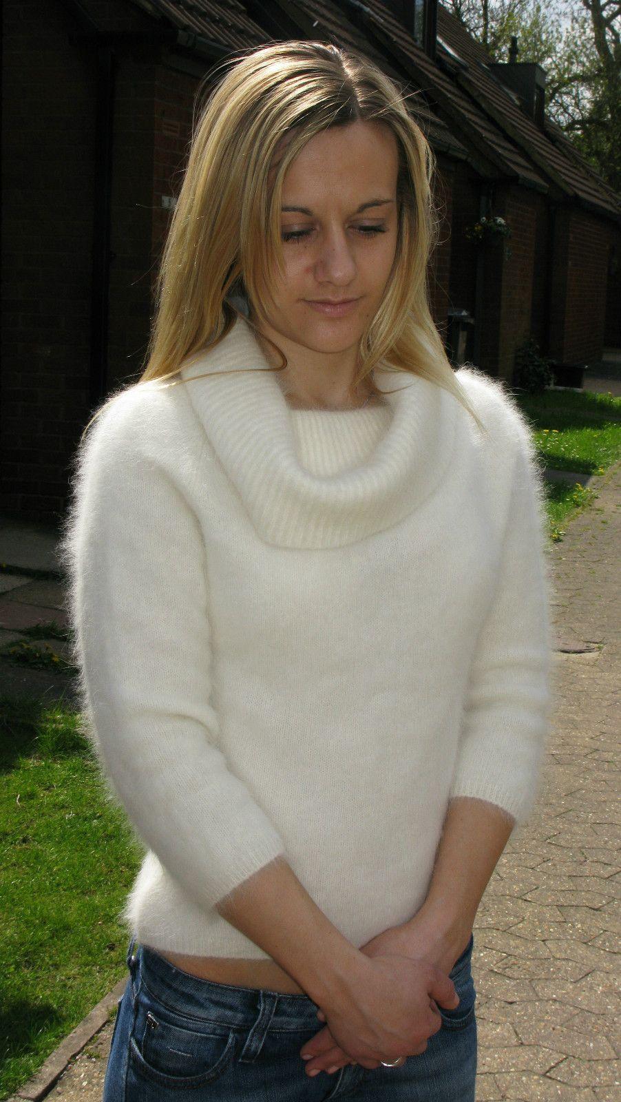 White Cowl Neck Angora Sweater In 2019 Angora Sweater