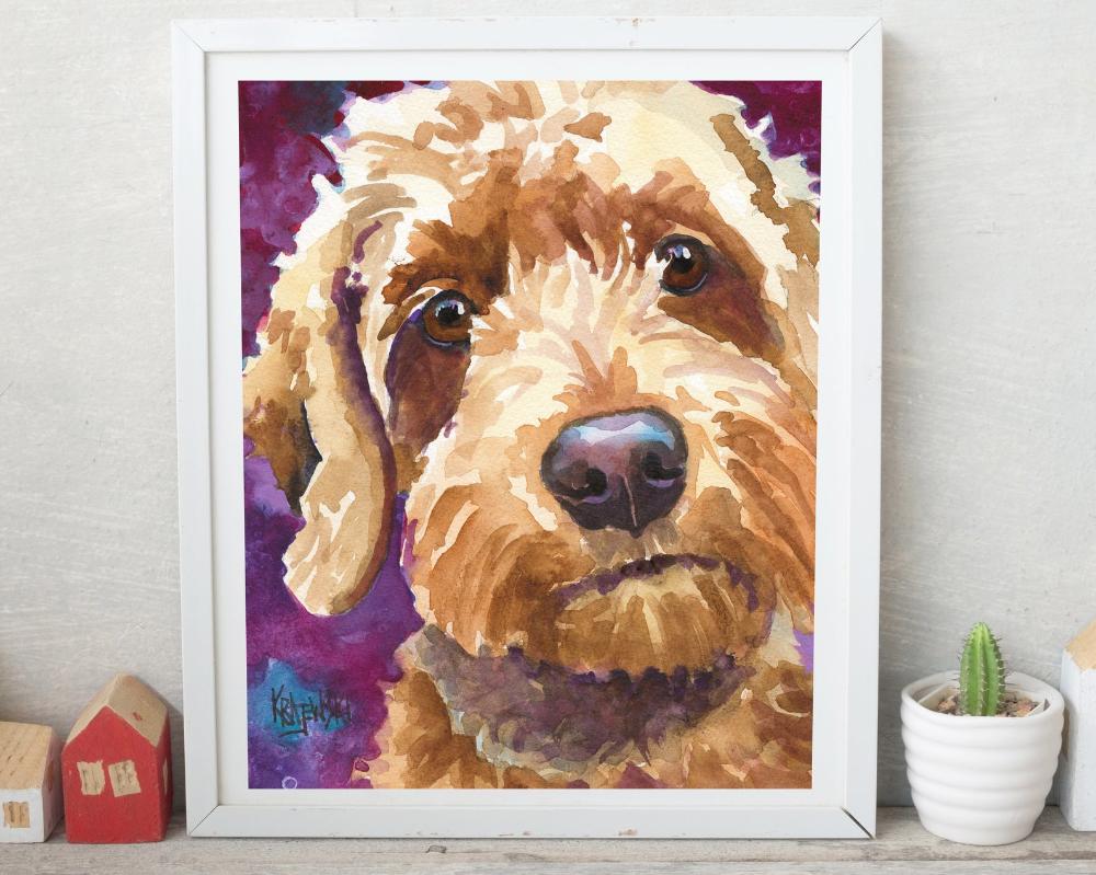 Goldendoodle Art Dog Wall Decor Art Print Of Original Watercolor