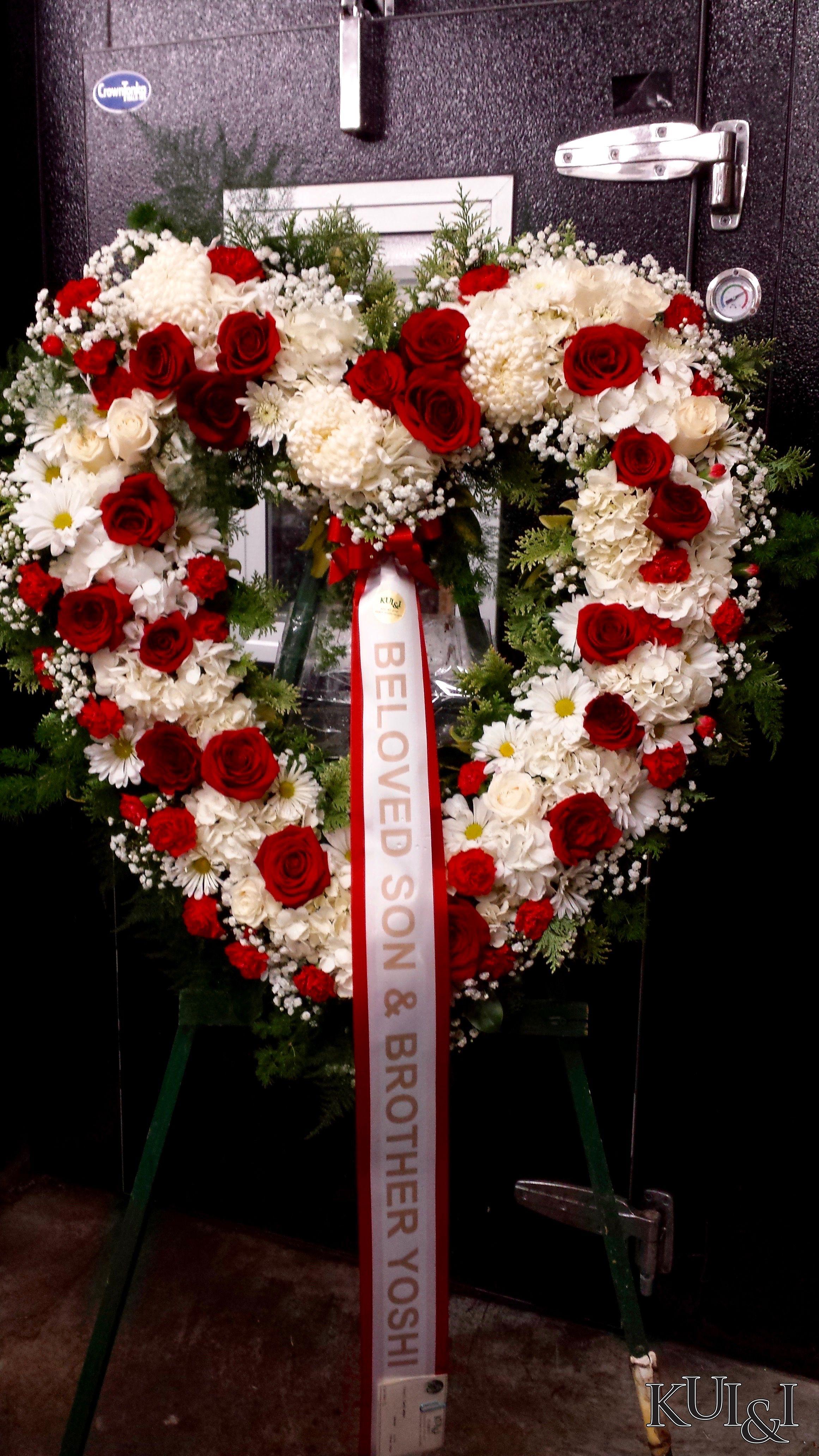 White and red heart funeral wreath kuiandiflorist kuiandi white and red heart funeral wreath kuiandiflorist kuiandi funeral arrangements flower arrangements izmirmasajfo