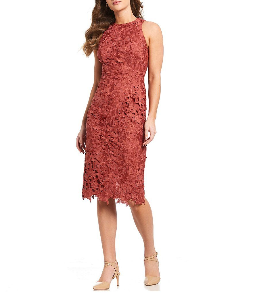 5c62c68b088 Brick Peggy Cut-Out Lace Sleeveless Midi Dress Short Bridesmaid Dresses