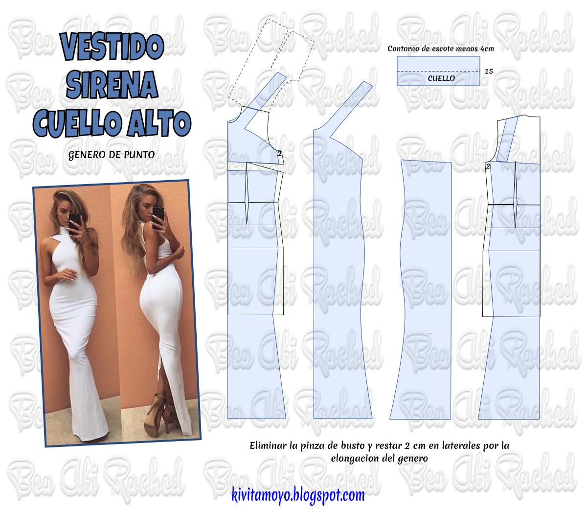 VESTIDO SIRENA CUELLO ALTO | patrones | Pinterest | Vestido sirena ...