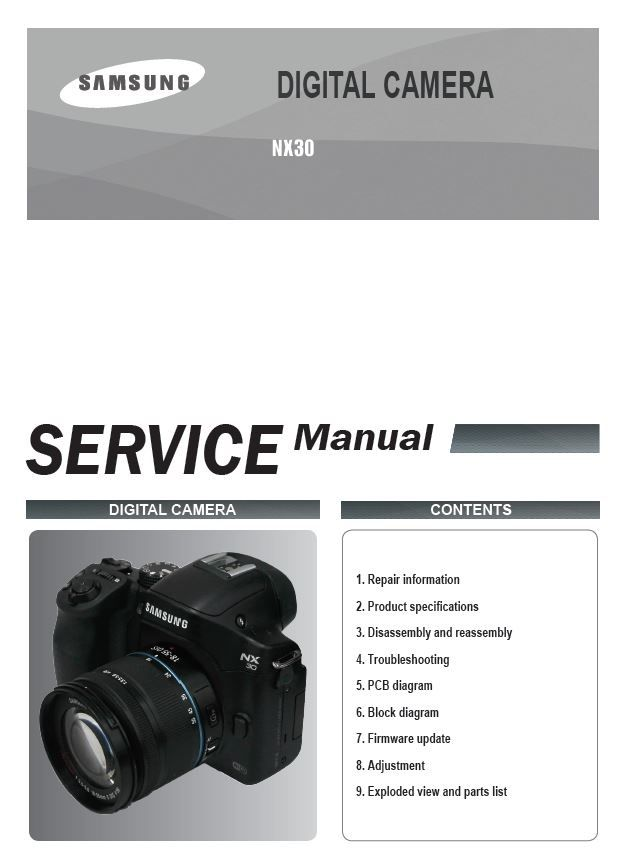 Samsung Nx30 Mirrorless Digital Camera Service Manual And Repair