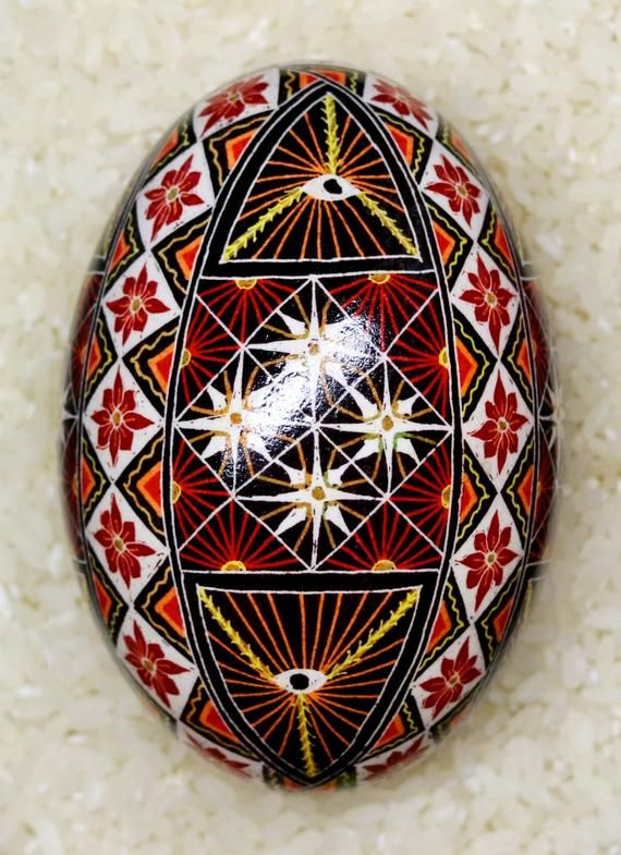 Goose Egg Pysanky Ukrainian Easter Batik Dye Decorated Egg Pysanka