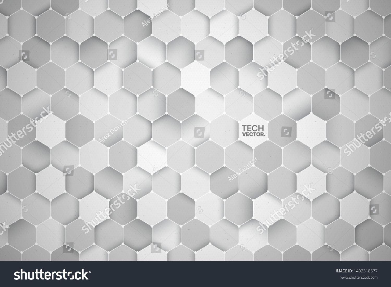 3d Science Technology Hexagonal Light Gray Vector Abstract