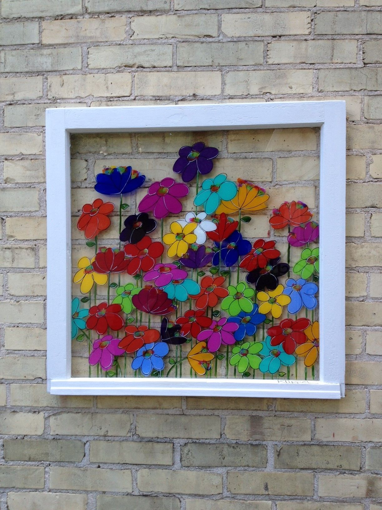 106 hand painted window using acrylic paint on the back