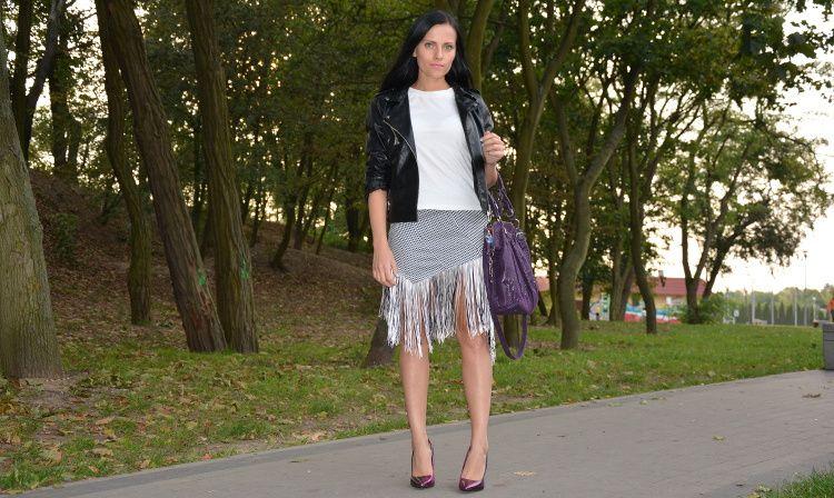 Spodnica W Pepitke Z Fredzlami Stylizacja Fashion Lace Skirt Skirts
