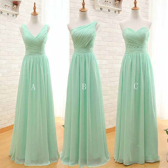 Made To Order Long Chiffon Bridesmaid Dress Mint Green Custom Color Processing Time