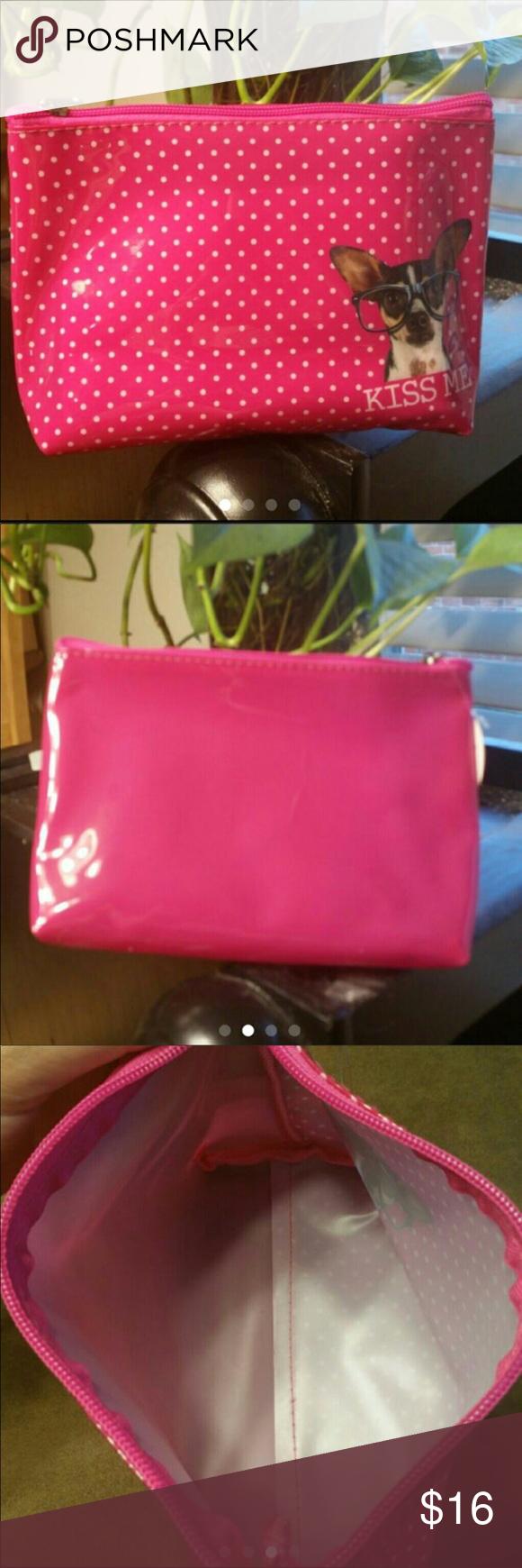 """Hot Pink """"Kiss Me"""" chihuahua makeup bag NWT Hot pink"""