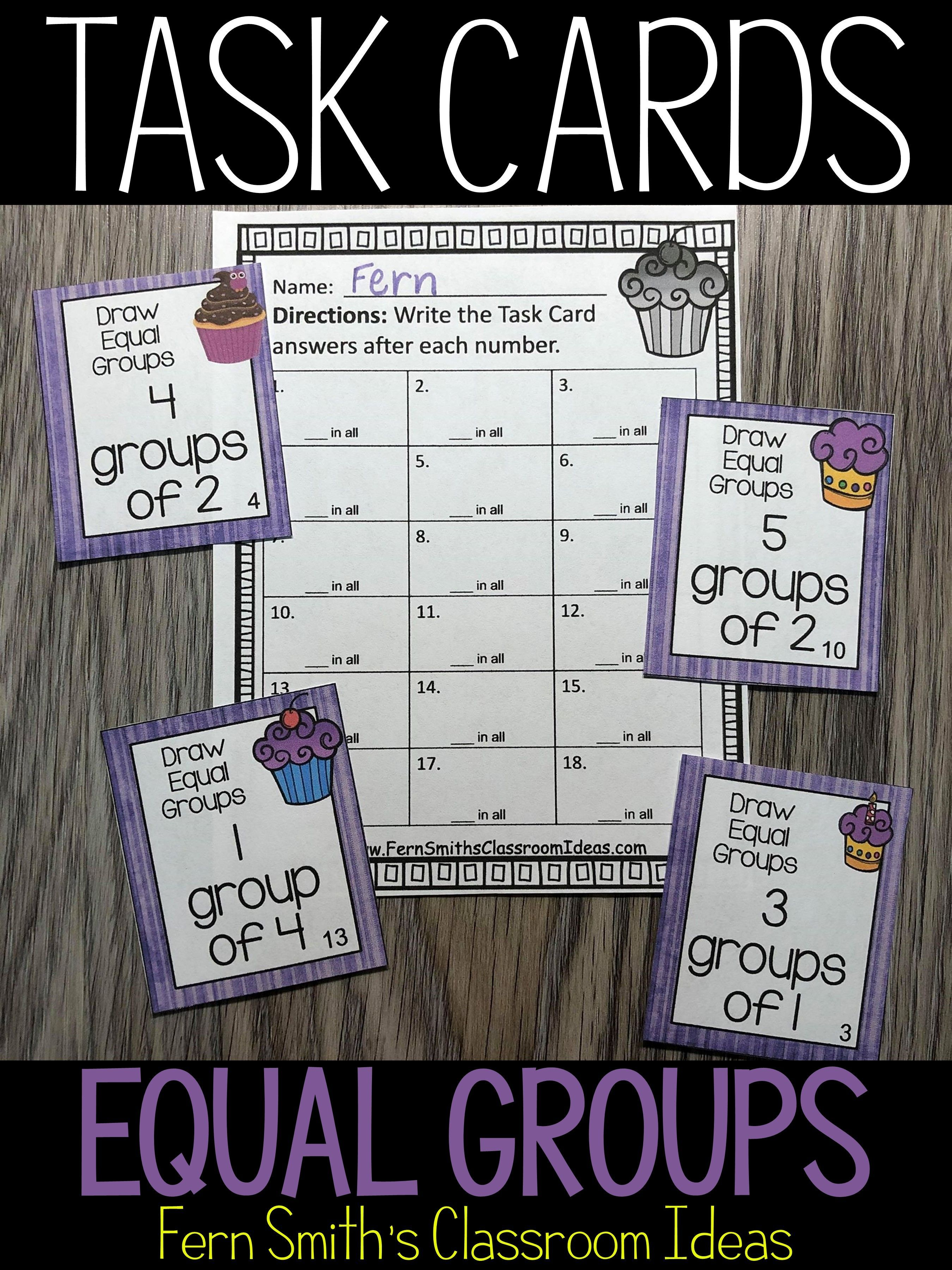 3rd Grade Go Math 3 1 Equal Groups Task Cards In