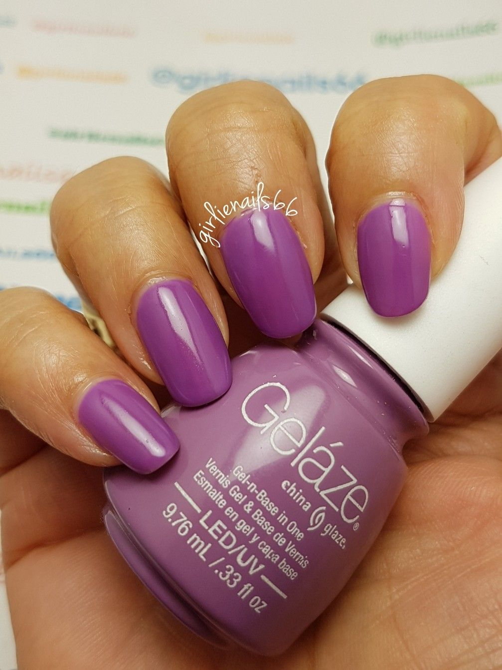 Gelaze Gel polish Purple no name sticker missing | Nail designs by ...