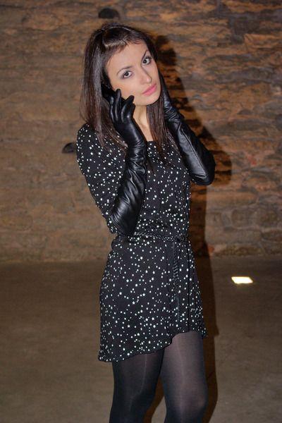 Black-star-print-zara-dress-black-long-gloves-monton-gloves ...