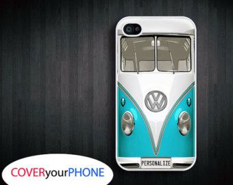 iPhone 4/4s/5 case vw bus in blue PERSONALIZED iPhone case, cover