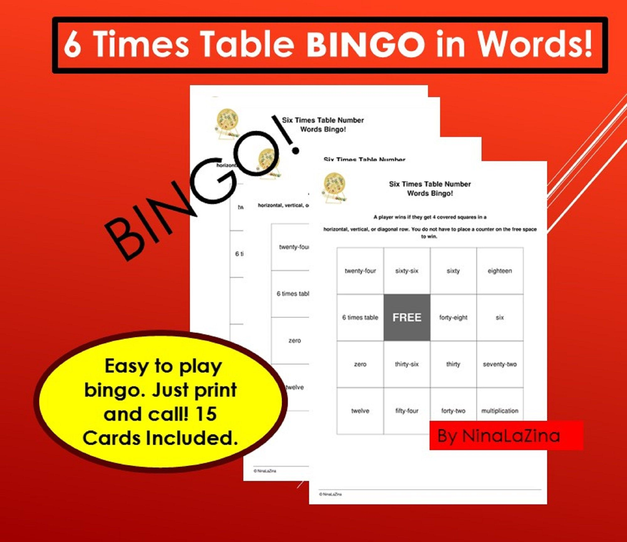 Multiplication Bingo Words Times Tables Bingo 6 Words