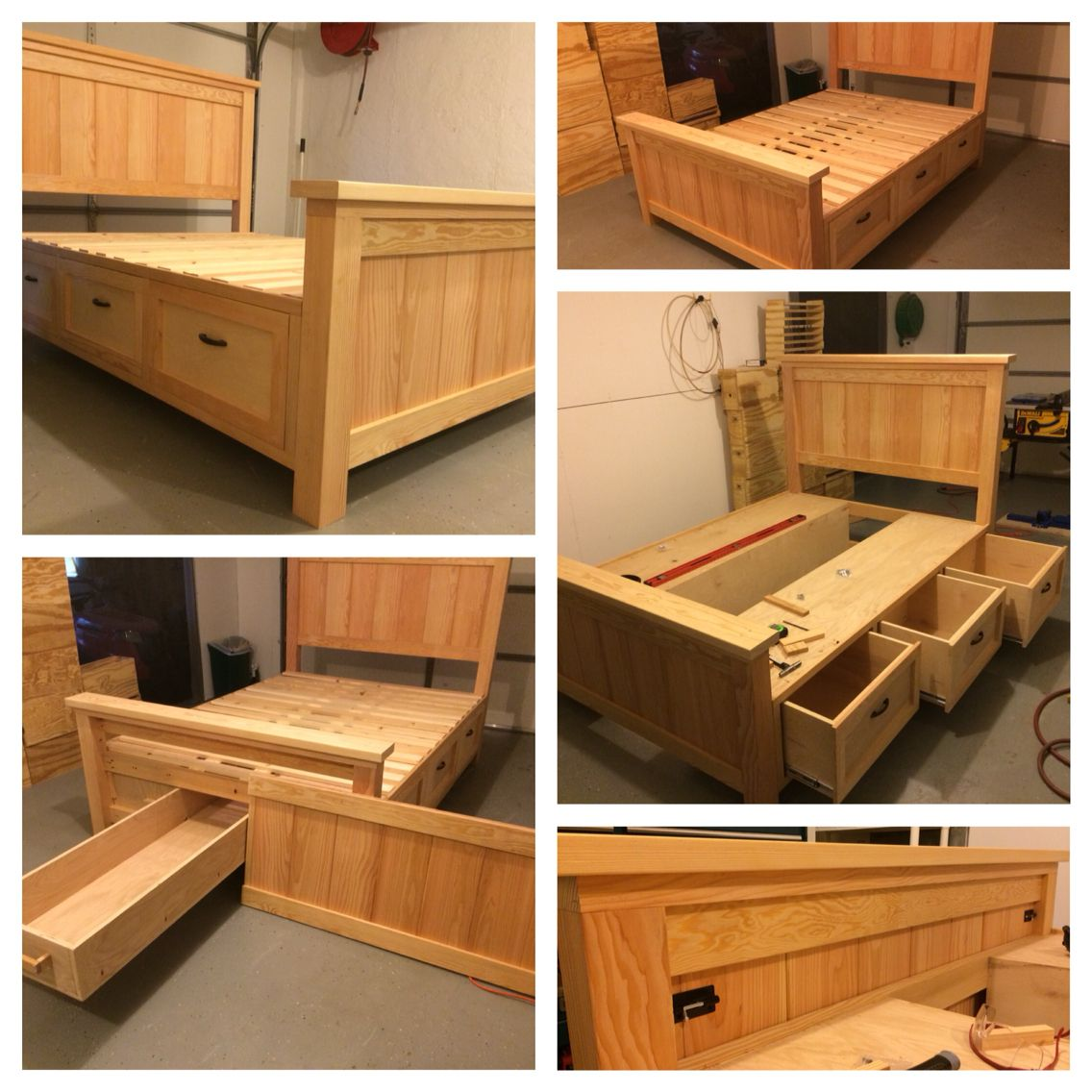 I just finished this build. It is a Queen Farmhouse Storage bed with ...