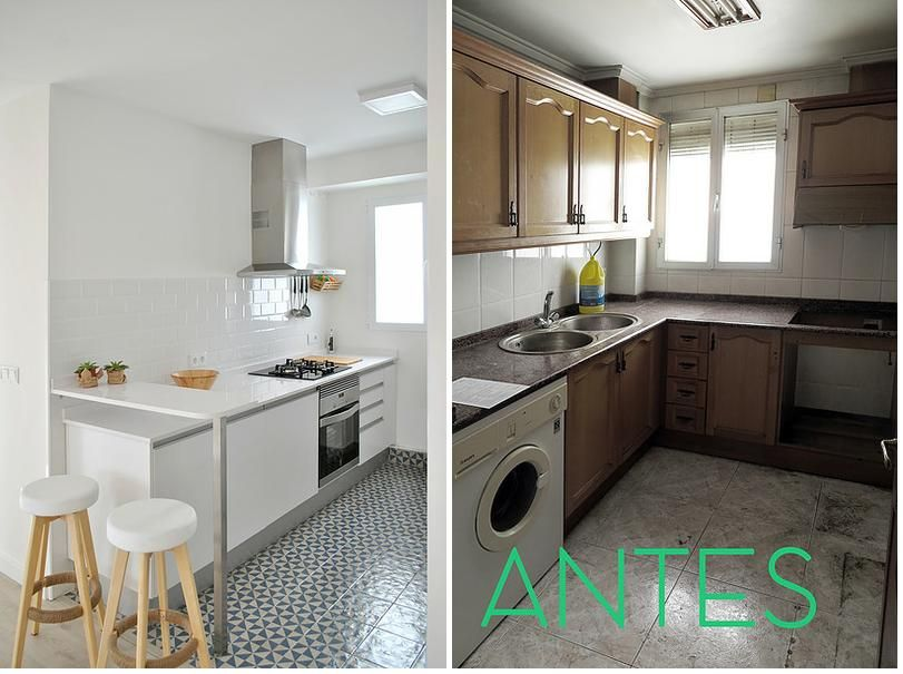 Antes y despu s de una reforma low cost kuzina kitchen decor apartment makeover y home - Como cambiar de look en casa ...