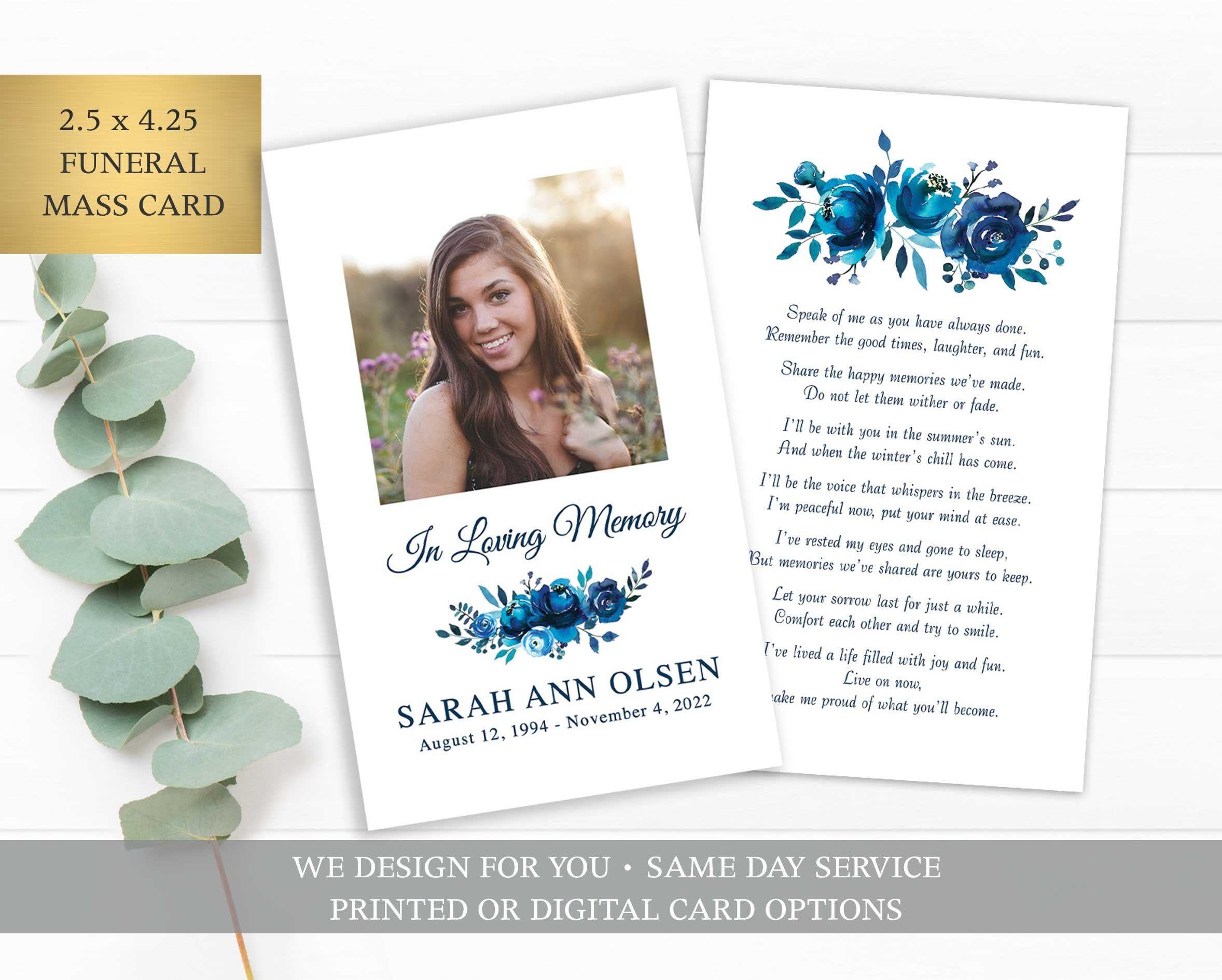 Funeral Prayer Card Template Printable Memorial Prayer Card Etsy Prayer Cards Printable Funeral Prayers Card Templates Printable
