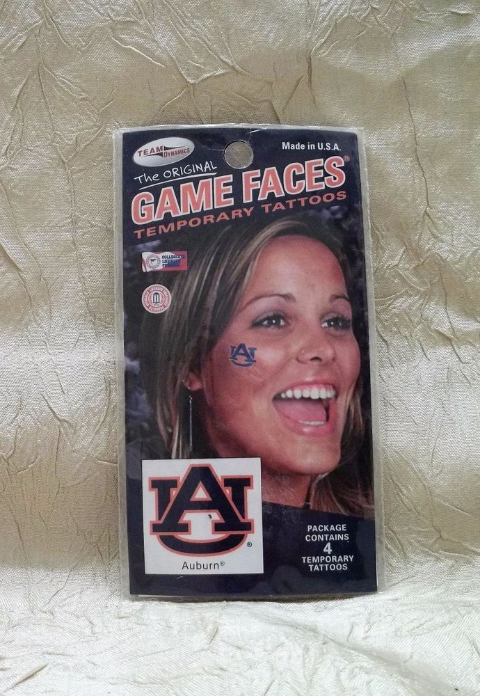 1b83a7340 Auburn University Tigers Game Face 4 Temporary Tattoos Waterproof Last For  Days #TeamDynamics #AuburnTigers