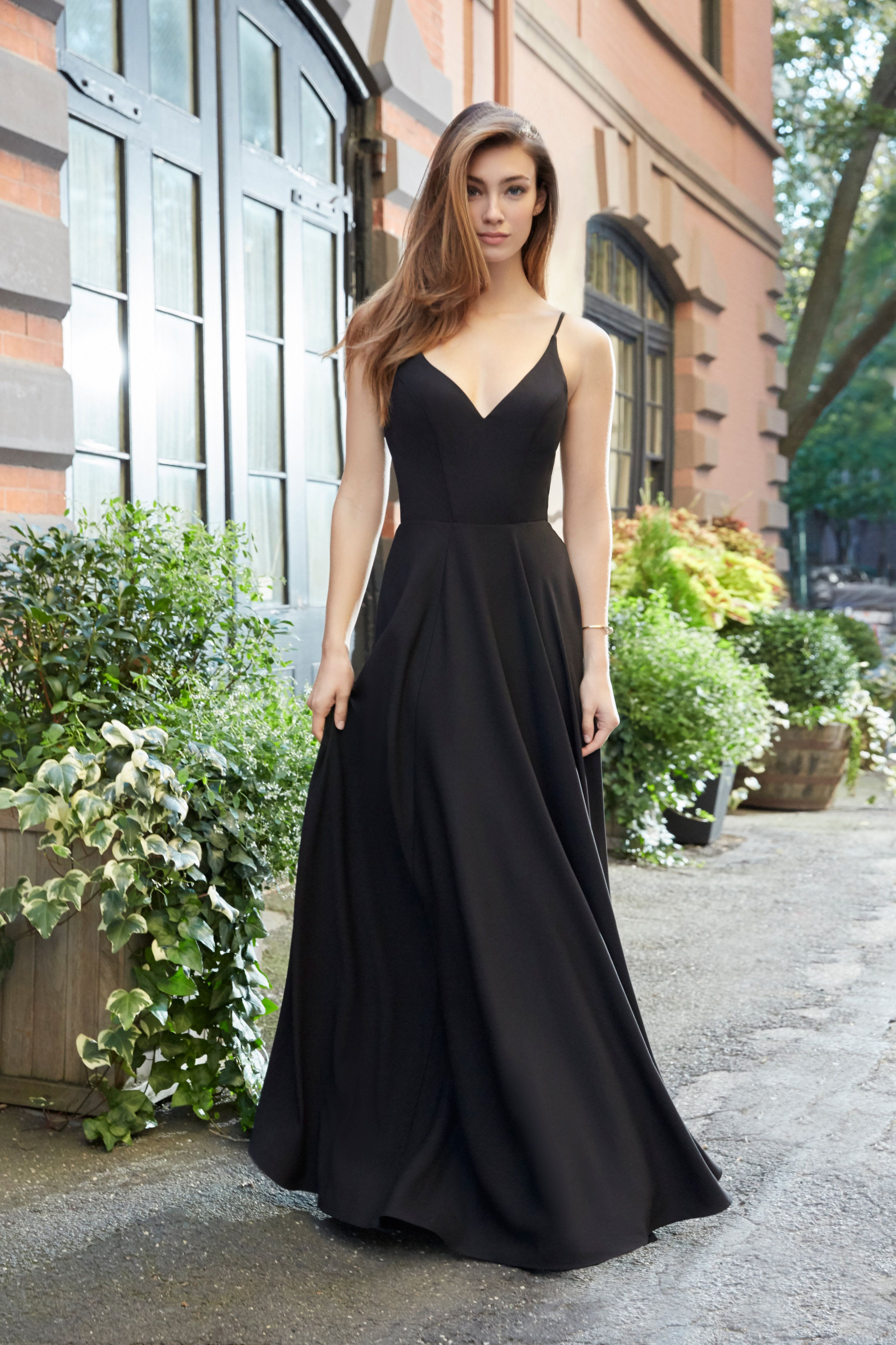 f8dfcc19a381b Style 5815 | Black crepe-line bridesmaid gown, V-neckline, natural waist,  circular skirt with pockets