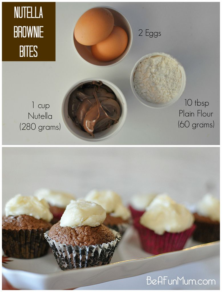 Mini Nutella Brownie Bites 3 Ingredients Recipe Nutella Cupcakes Nutella Recipes Easy Cupcake Recipes